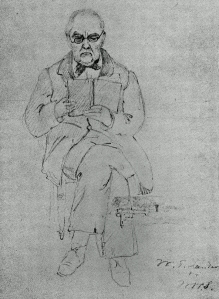 Landor reading Homer in Greek for one last time, in his mid-eighties, sketched by his friend William Wetmore Story